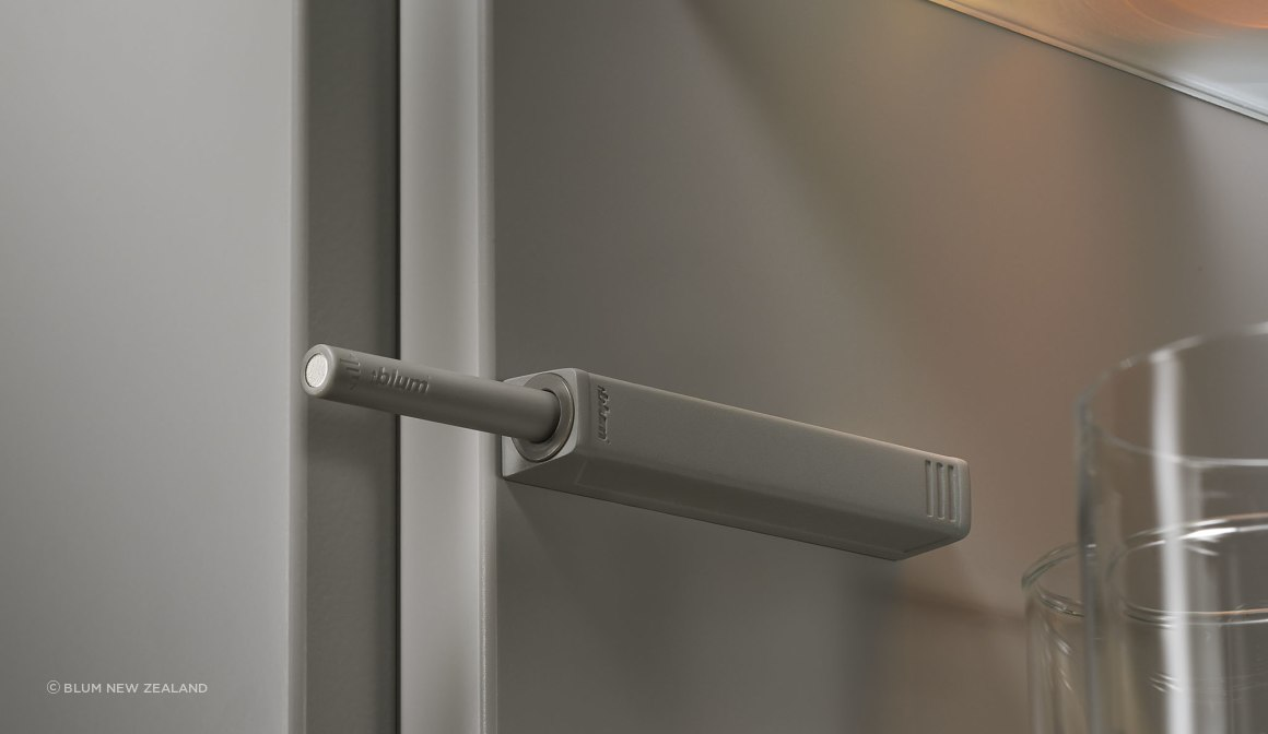 Blum CLIP top hinges with TIP-ON push to open