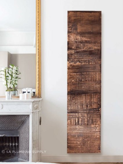 Radiators are no longer purely functional. Here, a vertical radiator is used as a central design feature.