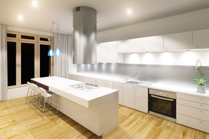 Kitchen lighting is often neutral to cool, making it easier to see what you're doing when cooking.