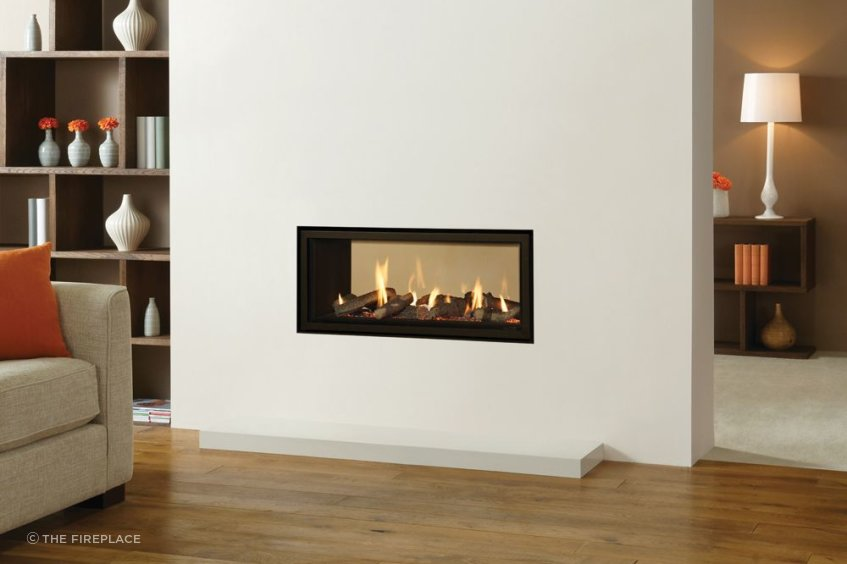 Double sided fires can provide a unique visual appeal and heat in two spaces at once.