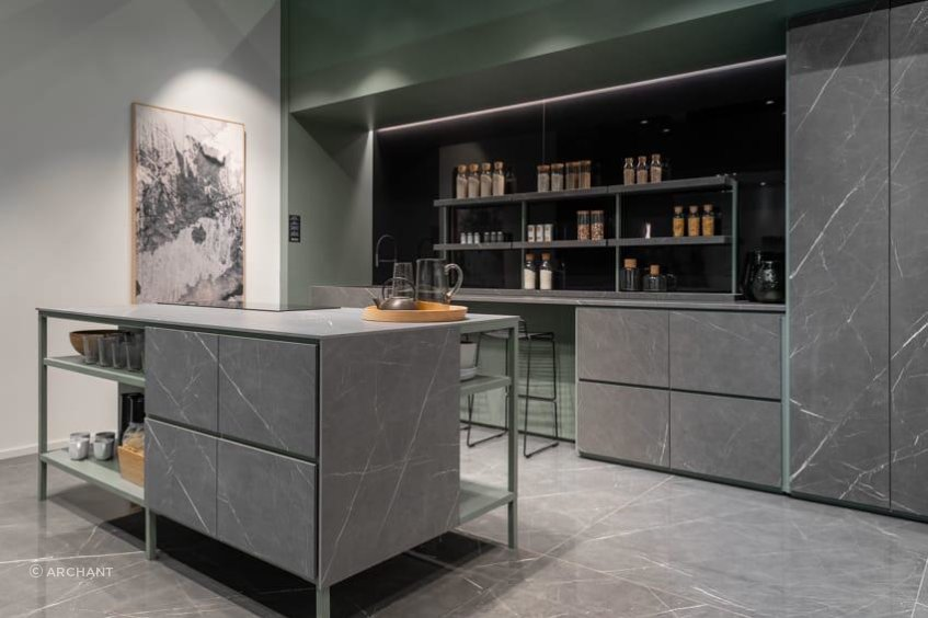 Marble Gray by Florim in Showroom Kitchen