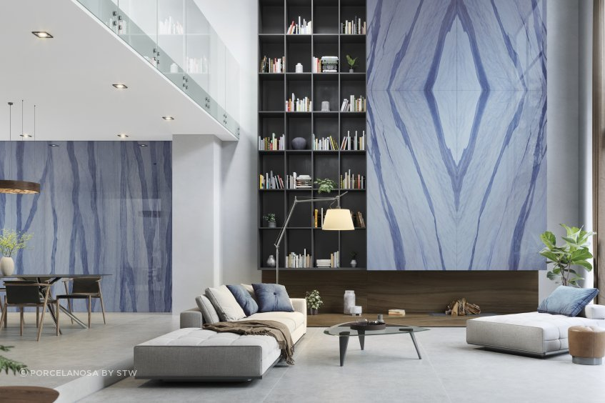 This interior feature is created with Xtone Bottego Acero, Blue.