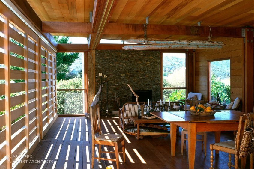 Interior, Island Bach, Great Barrier Island, by Herbst Architects.