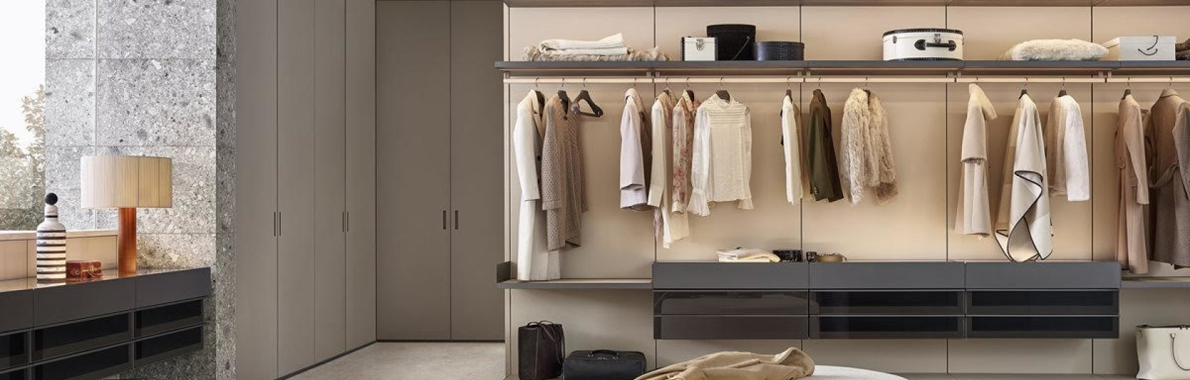 Wardrobe design trends: compositional freedom, texture and bespoke features