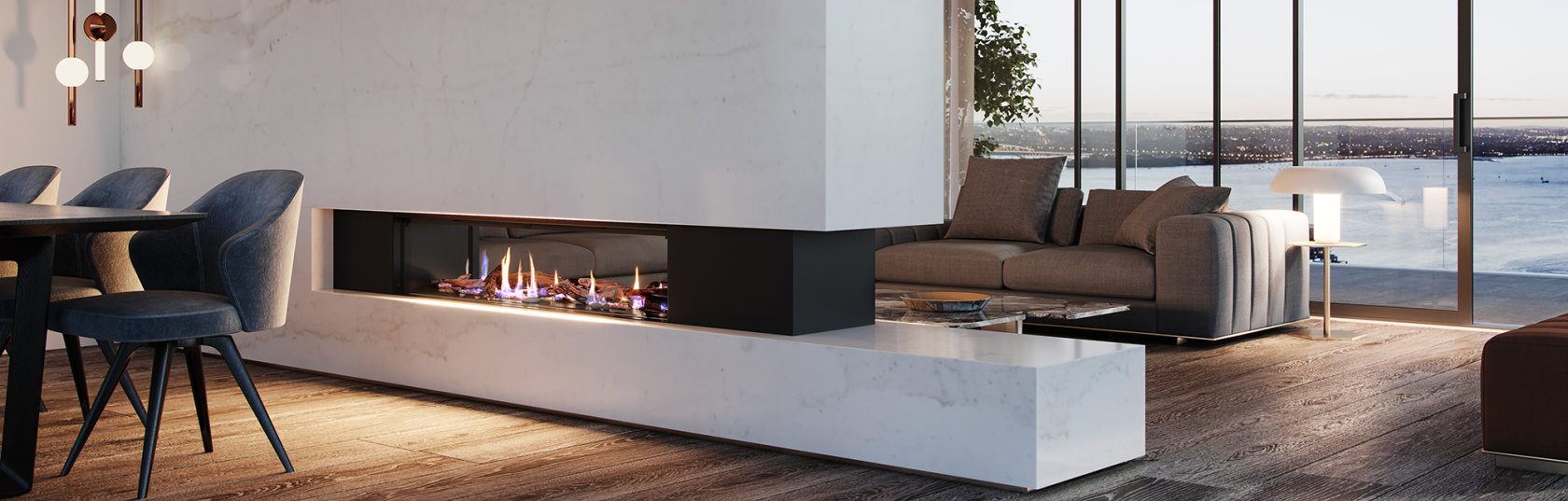 Realism and nature combine in a new gas fireplace range