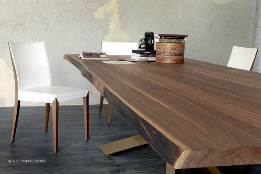Spyder Wood Table by Cattelan has an organic shaped, hand finished edge