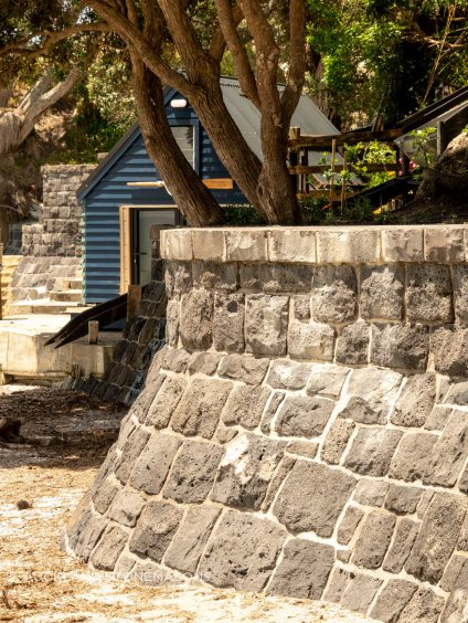 A sea wall surrounding a private property at Beachlands, Auckland.