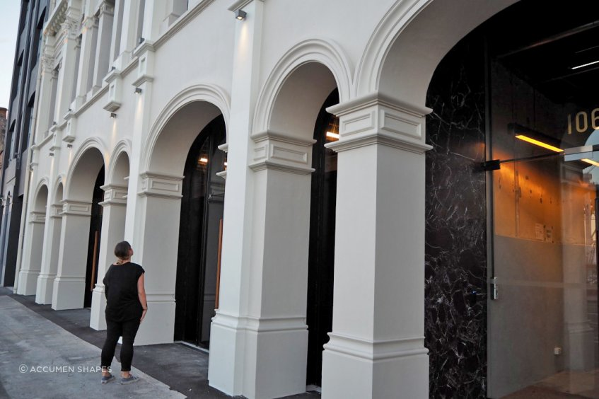 Accumen Shapes replicated the majority of the mouldings of Quay Buildings, in Auckland's Britomart, to restore the building to its former glory.