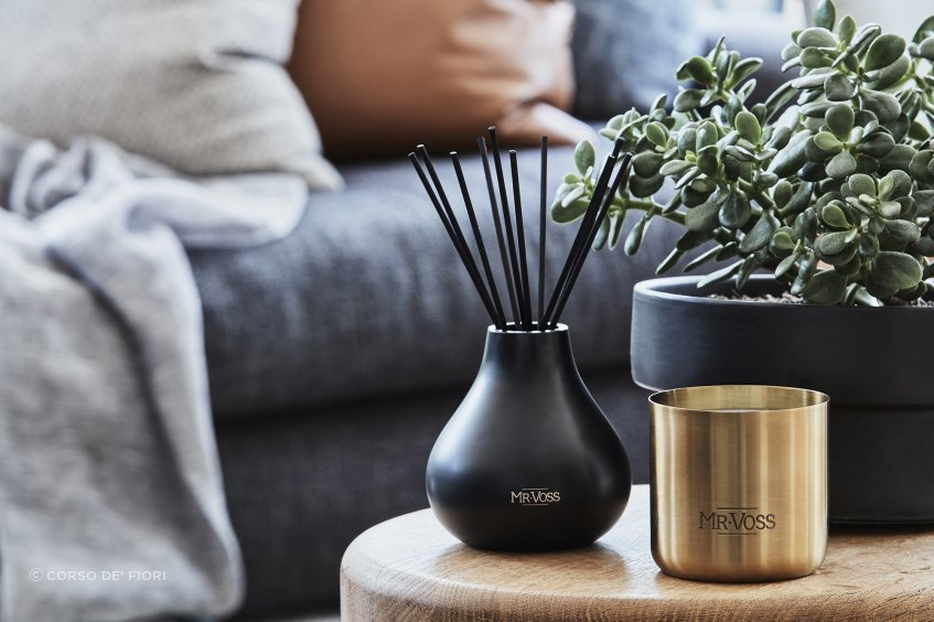 A beautifully-scented diffuser, like the Mr. Voss diffuser shown here, is a quick way to personalise any room.