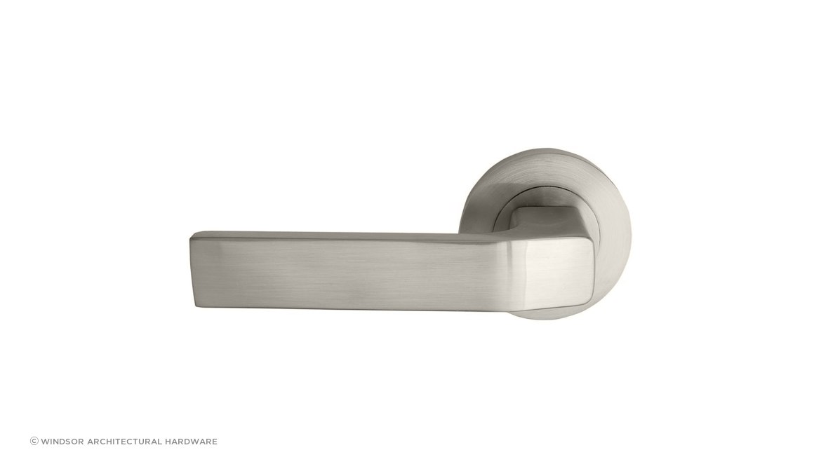Qube Lever Set in Brushed Nickel