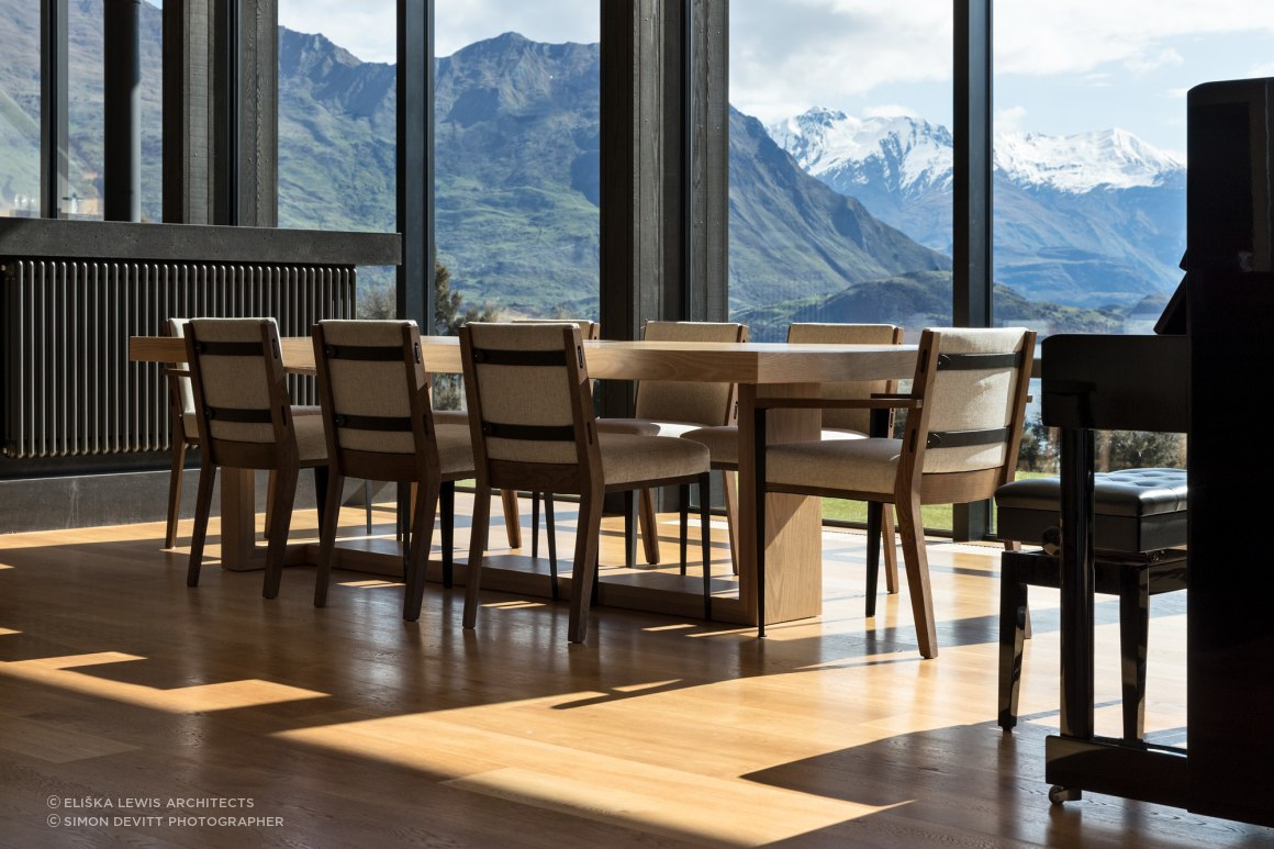 The dining area enjoys spectacular views of the mountains.