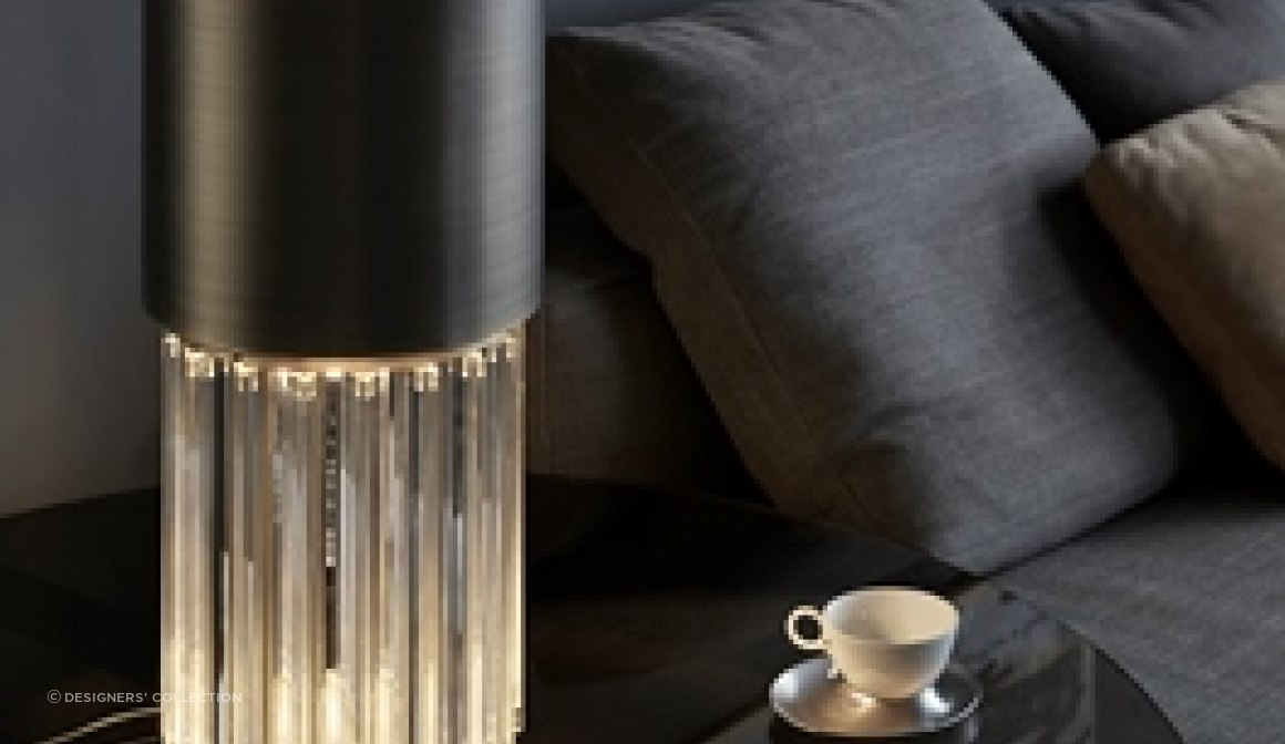 Metal and glass table lamp inspired by the chic and finess of a perfume bottle.