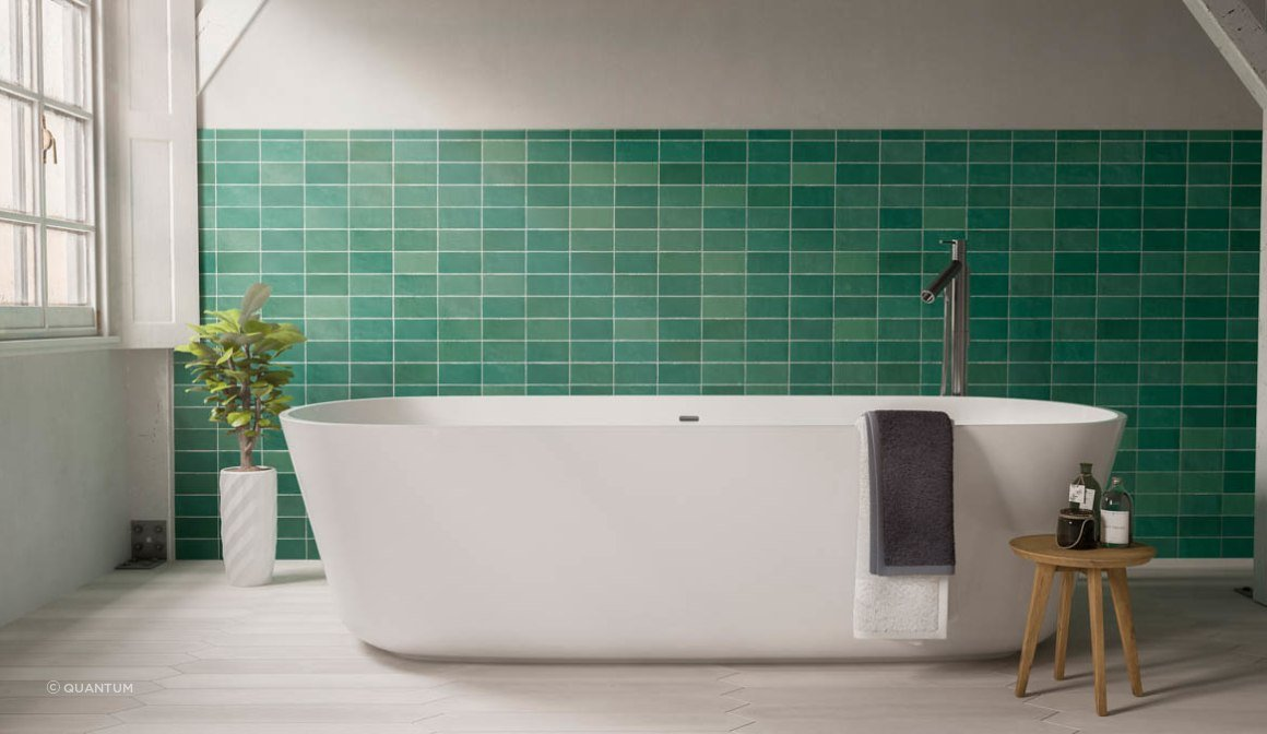 Fez Emerald matt tiles makes for a striking backdrop in this bathroom setting.