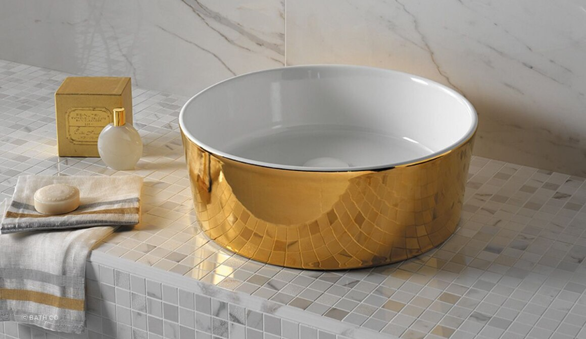 Happy Hour 07:00 Gold Counter Top Basin By Michel Cesar