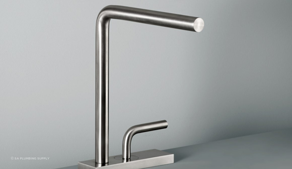 LEVO 1402 Kitchen Mixer. Progressive Mixer @ 5 litres per minute in Brushed Stainless Steel, Polished S/S and PVD finishes