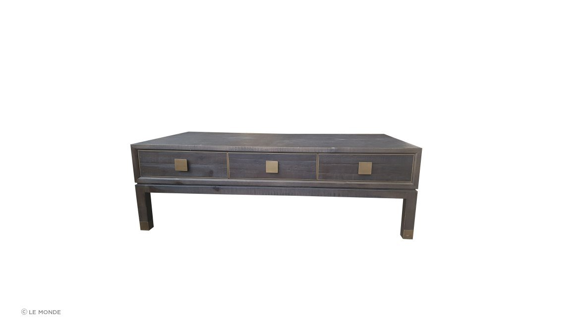 Old Fir & Brass Coffee Table