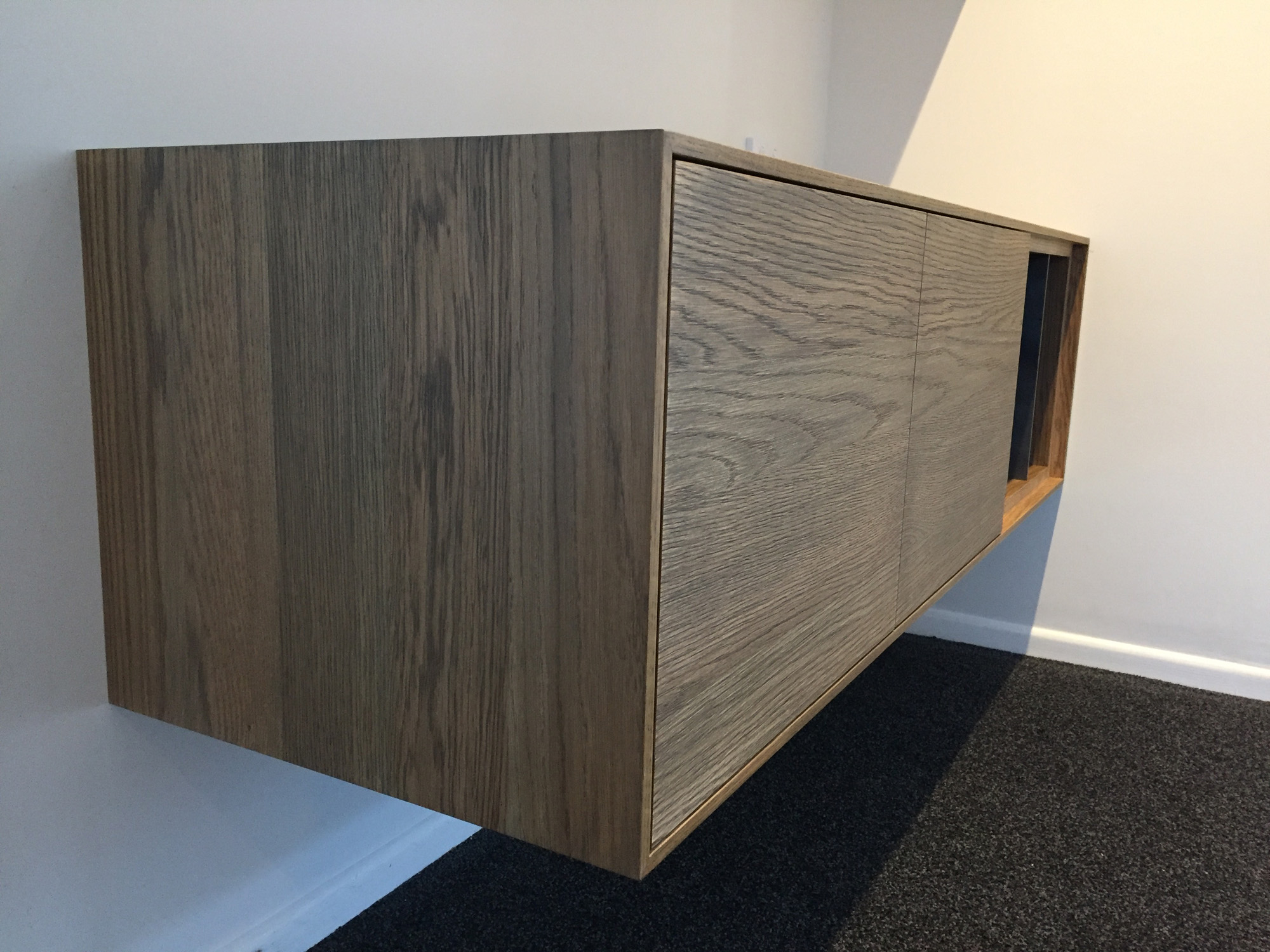 Red beach lounge unit floating shelves HBC Joinery