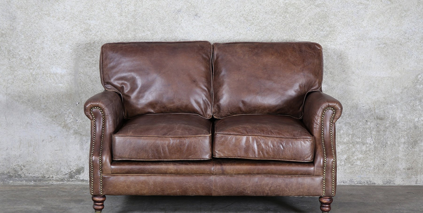 Princeton Leather Sofa 2 Seater Soft Touch Brown By