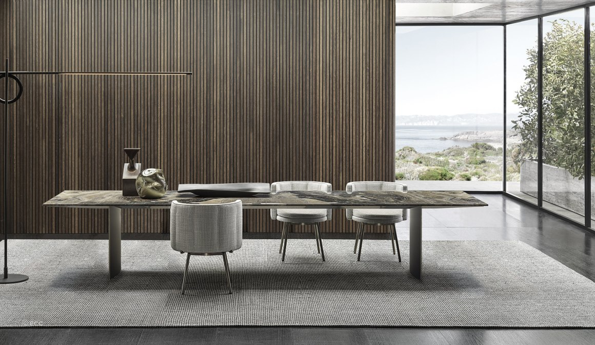 Osaka Rug, Torii Dining Chairs, Linha Dining Table Minotti at ECC